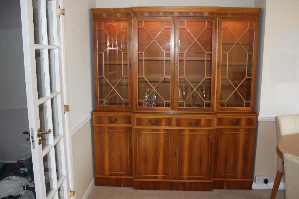 Reproduction Yew Sideboard With Display Cabinet In