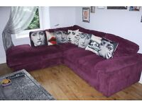 Plum / purple corner sofa and two seater.