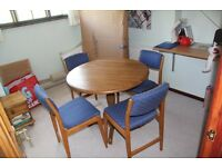 Round solid wood table and 4 chairs