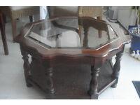 Octagonal Mahogany Coffee Table .