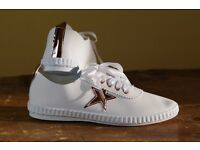 New Women Casual Flat Sneakers Star Detail Lace Up Trainers Ladies Pumps