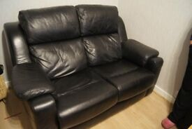 G PLAN REAL LEATHER BLACK 2 SEATER SOFA