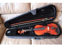 Full Size Violin with Chin Rest and Case