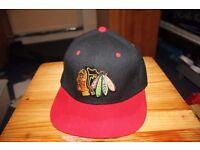 Black/Red Chicago Blackhawks TISA Snapback Hat Cap Unisex.