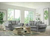 💥💯FLASH SALES VERONA GREY FABRIC CORNER SOFA SUITE / 3+2 SEATER SETTEE AVAILABLE FOR DELIVERY