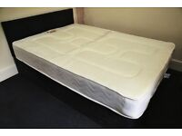 Double bed with mattress - black suede