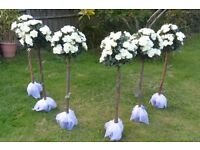 6 x 3ft artificial White rose trees for HIRE