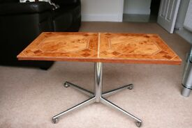 Retro Chrome Tiled Coffee Table with Wheeled Base