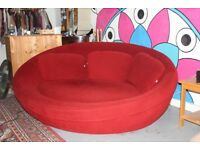 Red luxury Cellini UFO sofa used furniture good condition although some damages