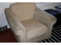 very comfy armchair. cream fabric, great condition.