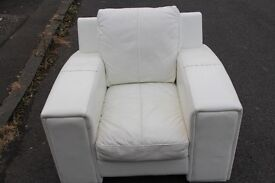 White genuine leather Armchair (including delivery)