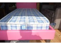 single pink bed