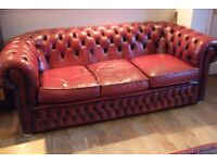 Leather chesterfield sofa, oxblood red