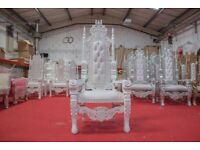 2 x New White Rose King Queen Throne Chair Wedding Luxury Hand made French Italian Furniture
