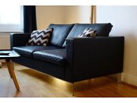 Allermuir SL02 2 Seater Sofa Leather Double Couch Dark Navy / Black Not Chesterfield Florence Knoll