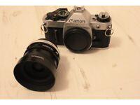 Canon AE-1 Program 35mm camera, w/28mm Wide Angle Tamron Lens + accessories
