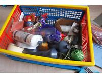 Box of Art Materials Supples, Pastels, Pencils, Chalks, Lino Cutting and Printing Tools