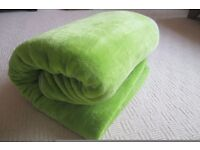 Extra large, faux fur, lime green throw and other bedroom items for sale.