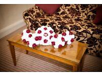 Artificial bridal flowers. Brides bouquet, 4 bridesmaid bouquets & 2 wands