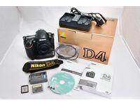 Nikon D4 Camera Body & Accessories – 16 meg. FX / Full Frame. Takes x1 CF Card & x1 XQD Card.
