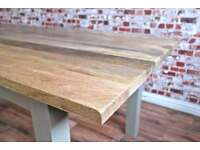 New Solid Hardwood Chunky Slab Rustic Dining Table - Generous Six-Seater