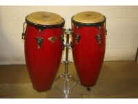 LP Cosmic Percussion Red Lacquered Wooden Conga Drums 10in + 11in + Stand