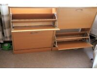 Two shoe cabinets (each have two pull down drawers)