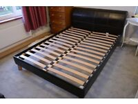 Double Bed - Brown Faux Leather
