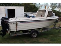 For sale Warrior 165 fishing boat with 90 hp two stroke engine complete with trailer.