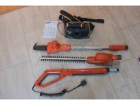 Battery Operated Flymo Sabre Hedge Trimmer and Sabre Cut Saw