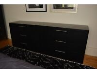 Bedroom chest of drawers, double dresser, BoConcept, black stained oak, bedroom
