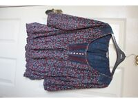 Purple and blue floral m&s peasant shirt