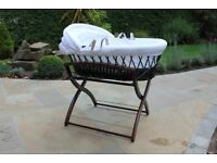 Top Quality Moses Basket with stand and carry handles.