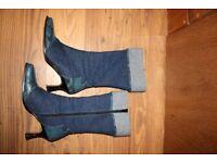 Pair of denim calf length denim vivaldi boots size 6