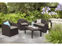 Brand New Carolina 4 Piece Rattan Lounge Outdoor Furniture Set - Brown