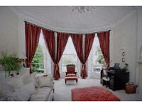 John Lewis curtains, in red and gold striped