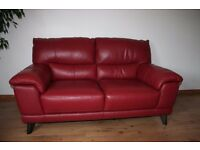 Real leather 2 seats standard sofa color deep red with Free Delivery only £200