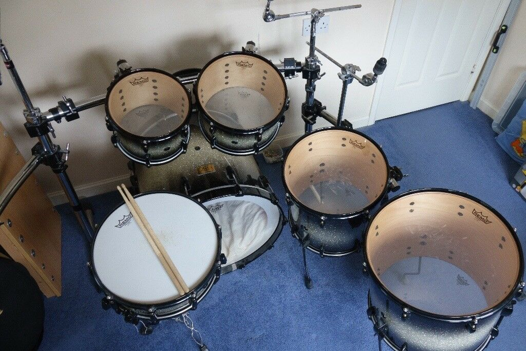 pearl masters studio brx drum kit 6 piece set inc snare drum and gibraltar rack cymbals. Black Bedroom Furniture Sets. Home Design Ideas