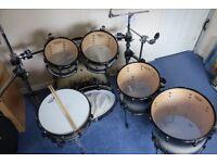 Pearl Masters Studio BRX drum kit- 6 piece set inc. snare drum and Gibraltar rack