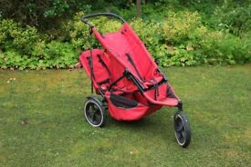 Phil & Teds Classic Double buggy / stroller, red, very rugged, needs a good scrub