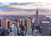 2 people return flight tickets London-New York, 20.Mar-27.Mar