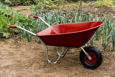 Red Wheelbarrow 85L Heavy Duty Stable Plastic Strong Comes In Box Perfect Gift