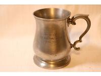 Cask Pewter Tankard. Johnson Walker & Tolhurst Ltd. Presented by G.C.Hans Hamilton Esq April 1936.