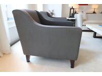 Luxury Fabric Armchairs x2 - GREY - RRP £959