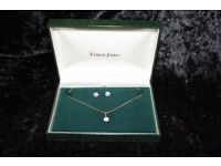 Ernest Jones Diamond Accent & Yellow Gold Necklace & Earring