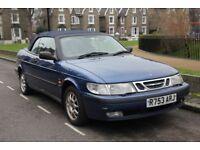 Saab 9-3 SE Convertible, Automatic Rare 2.3 150bhp 53k miles, FSH main dealer, drives like new.