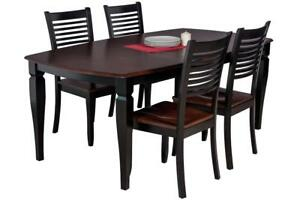 Victoria Boat Shape Five Piece Dining Set In Distressed Light Cherry And Black