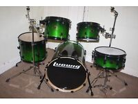 Ludwig Element Emo Green Fade Lacquered 5 Piece Full Drum Kit with Sabian B8 Cymbal set