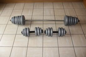 60kg York vinyl weights set - barbell and pair of dumbbells / dumbells. Perfect for home gym