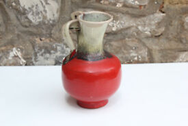 Unusual Vintage Red Handled Vase Art Pottery Studio Pottery Home Decor Handle Handmade Ceramic